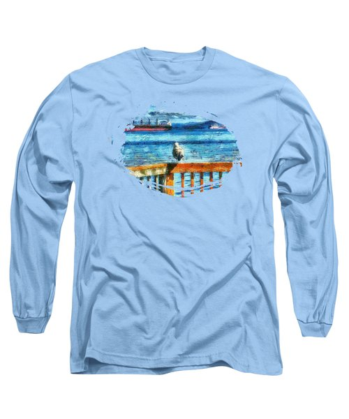Seagull In Astoria  Long Sleeve T-Shirt by Thom Zehrfeld