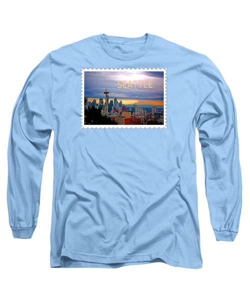 Seattle At Sunset Text Seattle Long Sleeve T-Shirt by Elaine Plesser