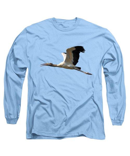 Sky Stork Digital Art .png Long Sleeve T-Shirt by Al Powell Photography USA