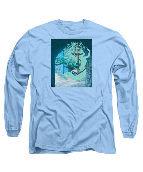 The Mermaid The Anchor And School Of Fish In The Underwater Ruins Long Sleeve T-Shirt by Sandra McGinley