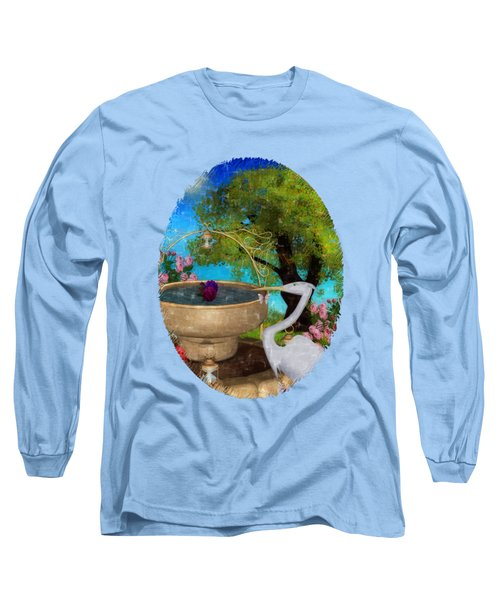 The Rose Path Egret Long Sleeve T-Shirt by Sharon and Renee Lozen