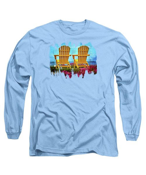 The Yellow Chairs By The Sea Long Sleeve T-Shirt by Thom Zehrfeld