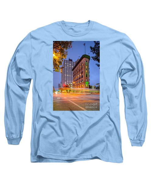 Twilight Photograph Of The Flatiron Building In Downtown Fort Worth - Texas Long Sleeve T-Shirt by Silvio Ligutti