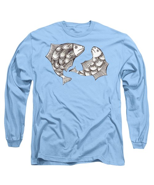 Two Ink Pen Graphic Hand Drawn Black And White Fish Long Sleeve T-Shirt by Victoria Yurkova