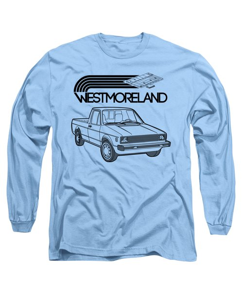 Vw Rabbit Pickup - Westmoreland Theme - Black Long Sleeve T-Shirt by Ed Jackson