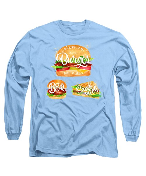White Burger Long Sleeve T-Shirt by Aloke Design
