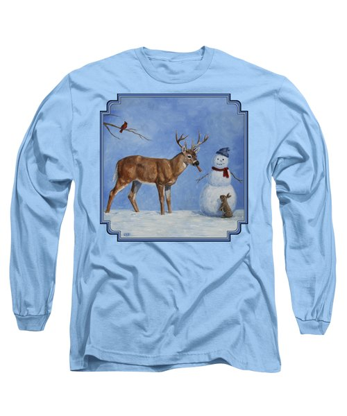 Whitetail Deer And Snowman - Whose Carrot? Long Sleeve T-Shirt by Crista Forest