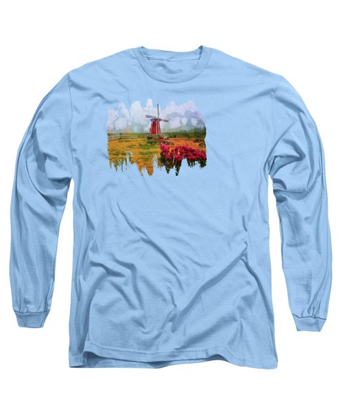 Windmill And Tulips Long Sleeve T-Shirt by Thom Zehrfeld