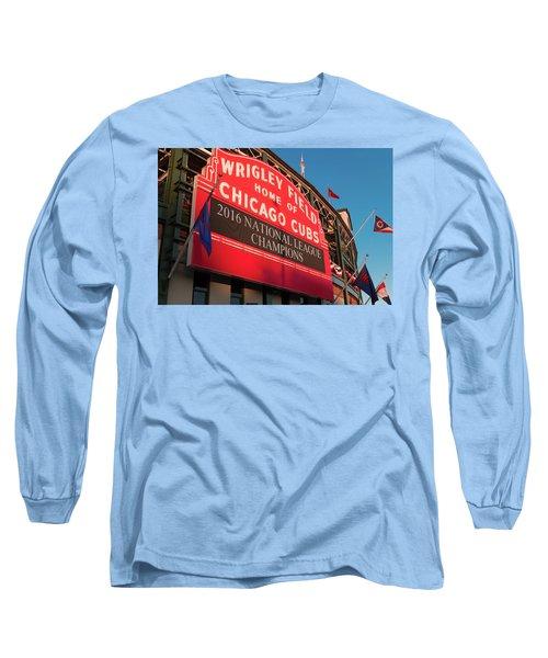 Wrigley Field Marquee Angle Long Sleeve T-Shirt by Steve Gadomski