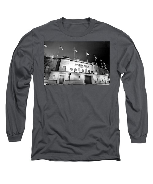 0879 Soldier Field Black And White Long Sleeve T-Shirt by Steve Sturgill