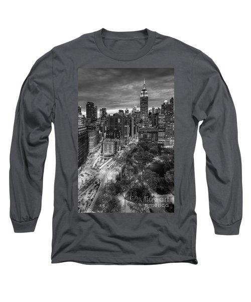 Flatiron District Birds Eye View Long Sleeve T-Shirt by Susan Candelario