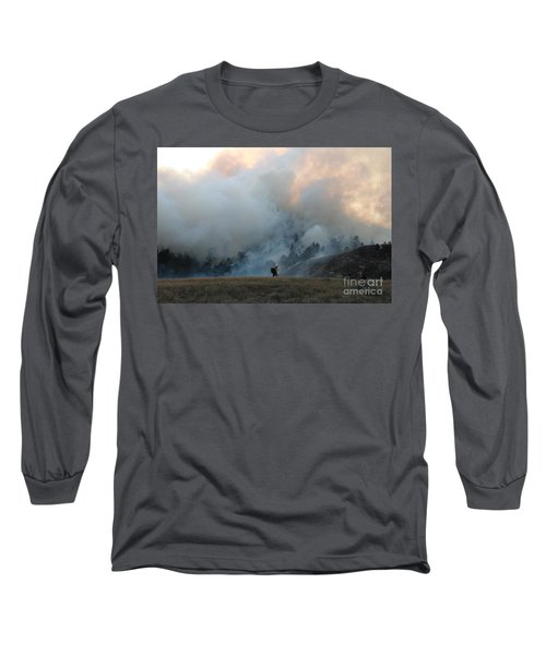 Long Sleeve T-Shirt featuring the photograph A Solitary Firefighter On The White Draw Fire by Bill Gabbert