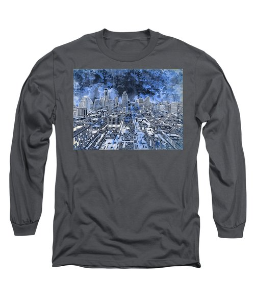 Austin Texas Abstract Panorama 5 Long Sleeve T-Shirt by Bekim Art