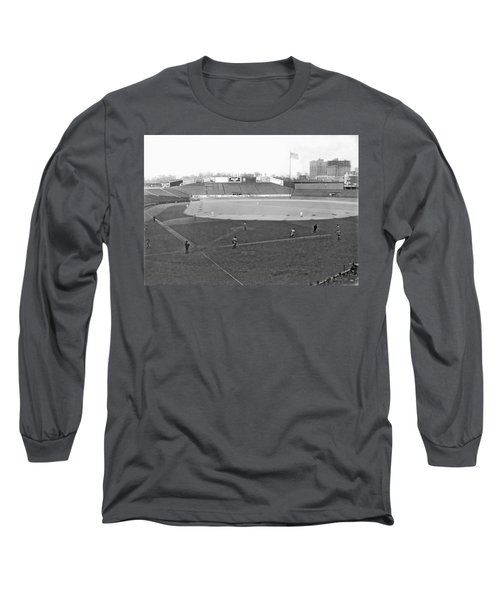 Baseball At Yankee Stadium Long Sleeve T-Shirt by Underwood Archives