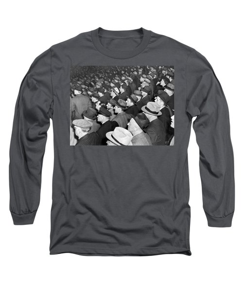 Baseball Fans At Yankee Stadium For The Third Game Of The World Long Sleeve T-Shirt by Underwood Archives