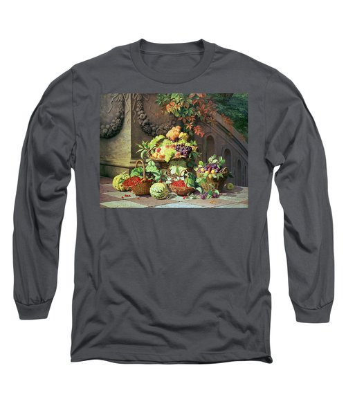 Baskets Of Summer Fruits Long Sleeve T-Shirt by William Hammer