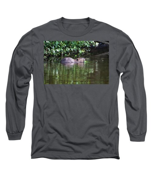 beaver swims in NC lake Long Sleeve T-Shirt by Chris Flees