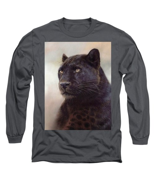Black Leopard Painting Long Sleeve T-Shirt by Rachel Stribbling