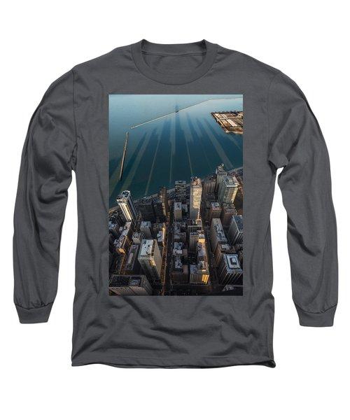 Chicago Shadows Long Sleeve T-Shirt by Steve Gadomski