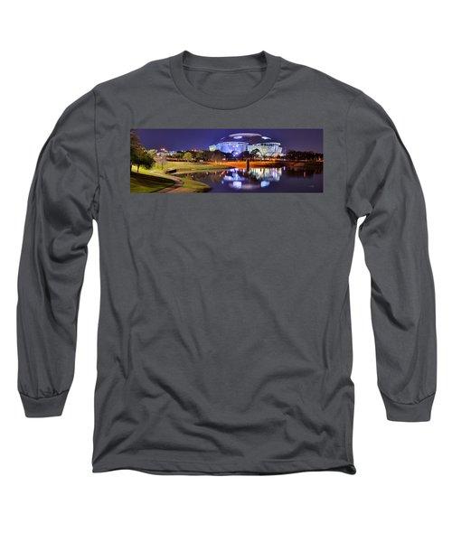 Dallas Cowboys Stadium At Night Att Arlington Texas Panoramic Photo Long Sleeve T-Shirt by Jon Holiday