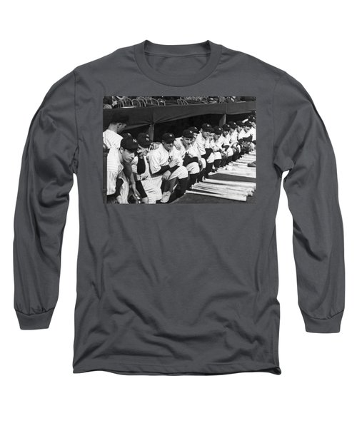 Dimaggio In Yankee Dugout Long Sleeve T-Shirt by Underwood Archives