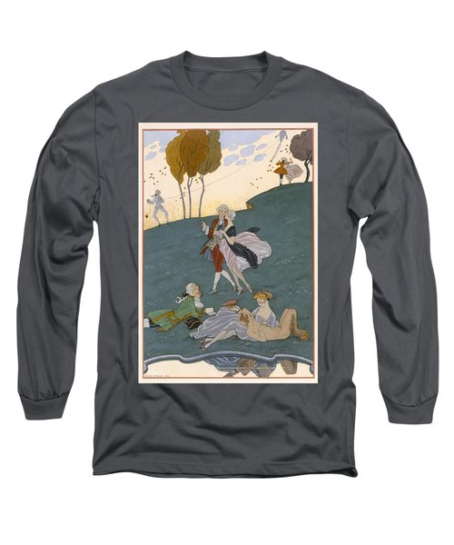 Fetes Galantes Long Sleeve T-Shirt by Georges Barbier