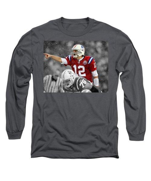 Field General Tom Brady  Long Sleeve T-Shirt by Brian Reaves
