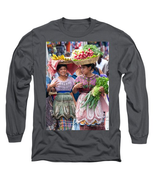 Fruit Sellers In Antigua Guatemala Long Sleeve T-Shirt by David Smith