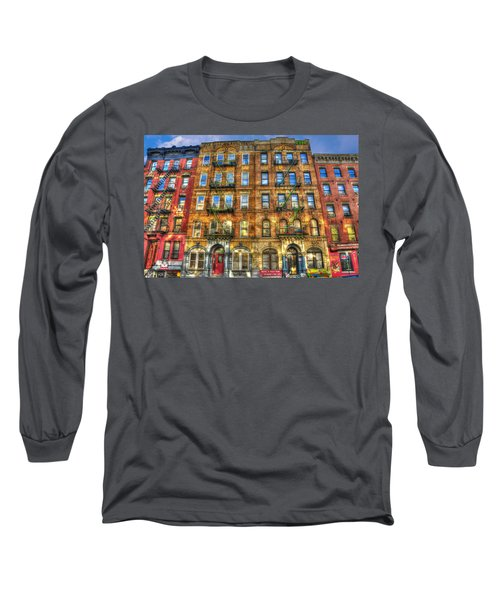 Led Zeppelin Physical Graffiti Building In Color Long Sleeve T-Shirt by Randy Aveille