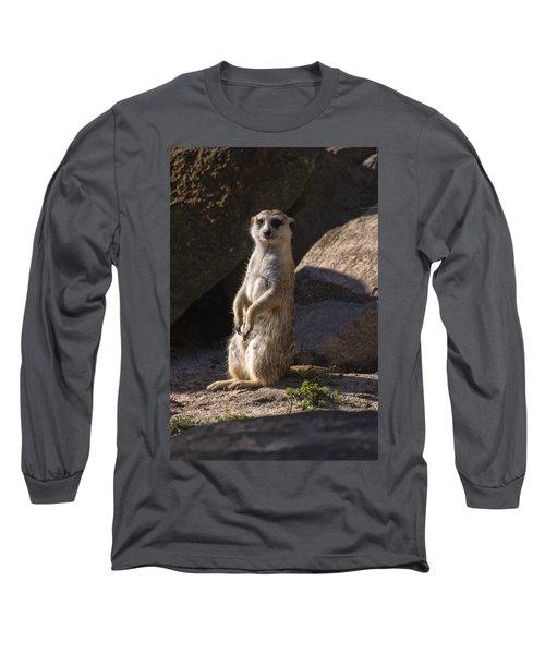 Meerkat Looking Forward Long Sleeve T-Shirt by Chris Flees