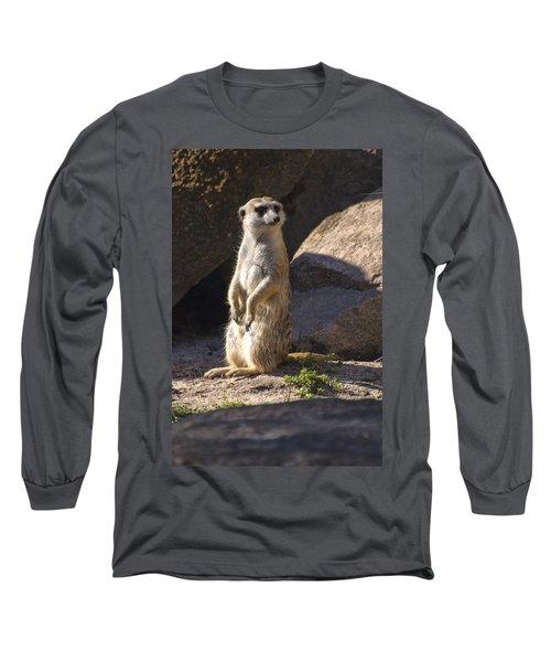 Meerkat Looking Left Long Sleeve T-Shirt by Chris Flees