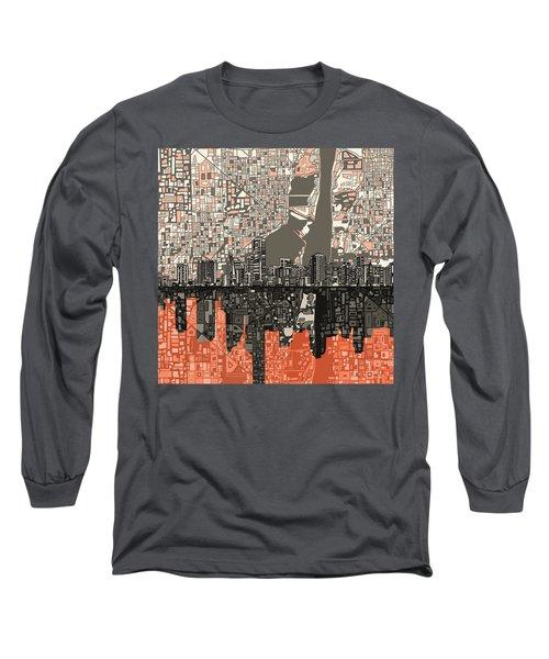 Miami Skyline Abstract 2 Long Sleeve T-Shirt by Bekim Art