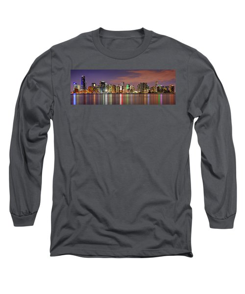 Miami Skyline At Dusk Sunset Panorama Long Sleeve T-Shirt by Jon Holiday