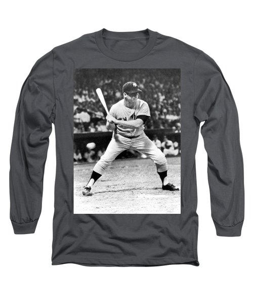 Mickey Mantle At Bat Long Sleeve T-Shirt by Underwood Archives