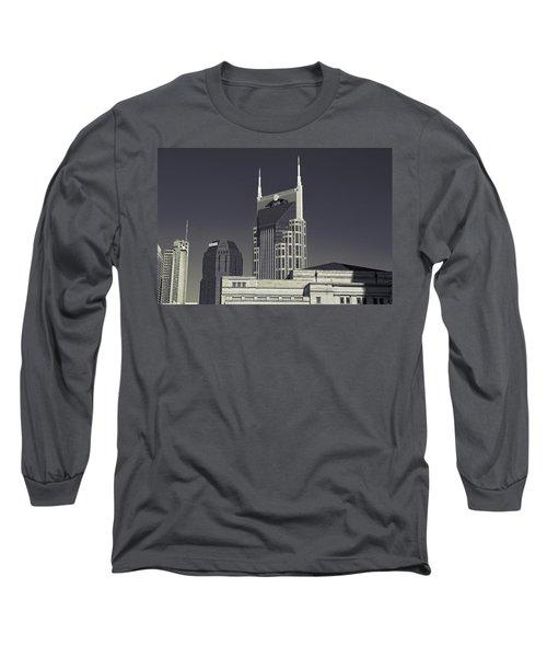 Nashville Tennessee Batman Building Long Sleeve T-Shirt by Dan Sproul