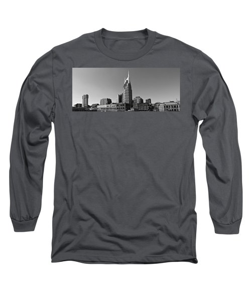Nashville Tennessee Skyline Black And White Long Sleeve T-Shirt by Dan Sproul