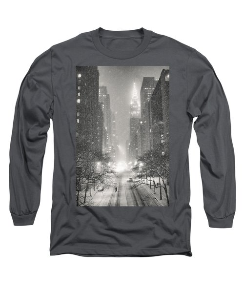 New York City - Winter Night Overlooking The Chrysler Building Long Sleeve T-Shirt by Vivienne Gucwa