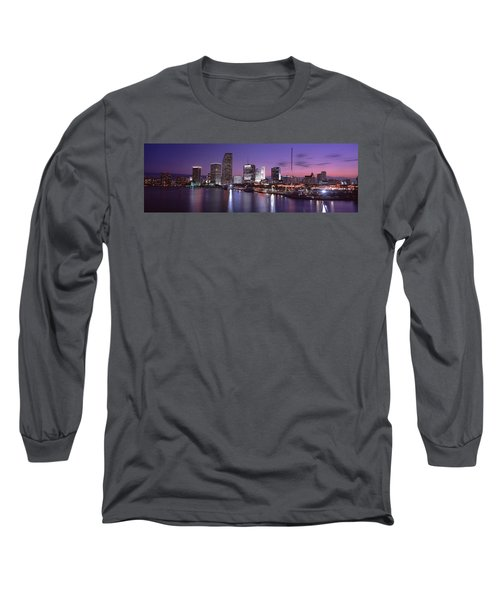 Night Skyline Miami Fl Usa Long Sleeve T-Shirt by Panoramic Images