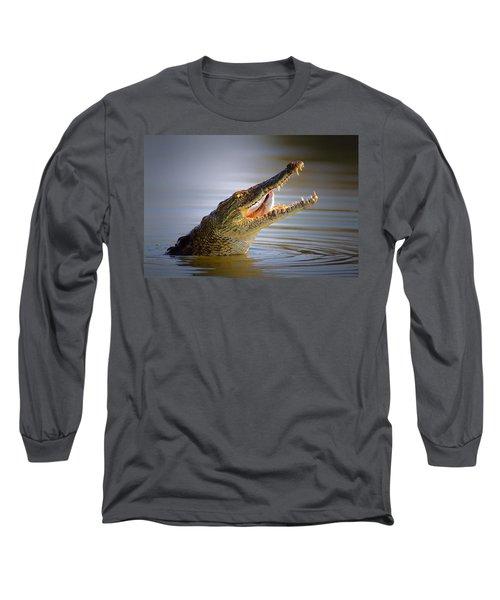 Nile Crocodile Swollowing Fish Long Sleeve T-Shirt by Johan Swanepoel