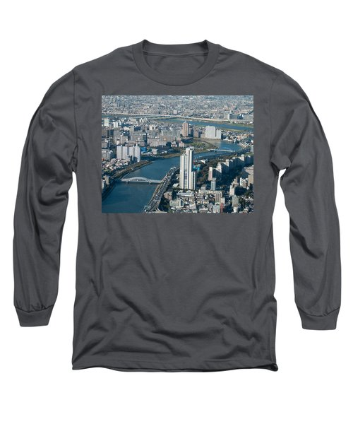 Panorama Of Tokyo Long Sleeve T-Shirt by Jill Mitchell