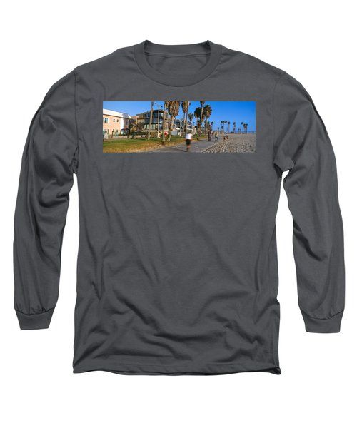 People Riding Bicycles Near A Beach Long Sleeve T-Shirt by Panoramic Images