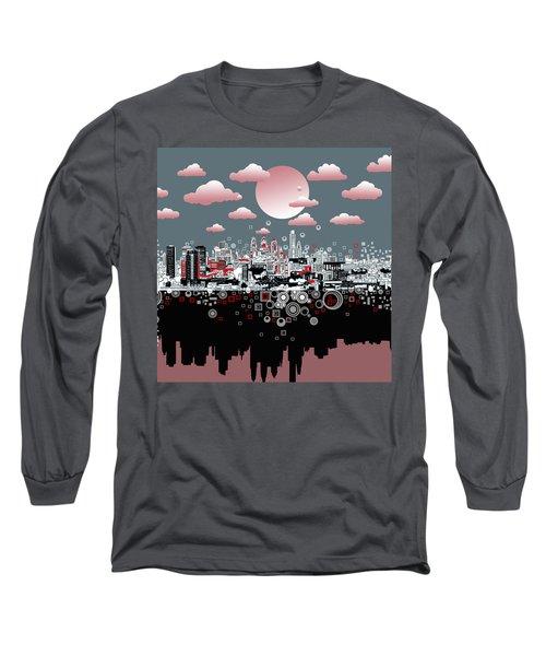 Philadelphia Skyline Abstract 6 Long Sleeve T-Shirt by Bekim Art