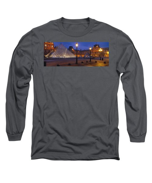 Pyramid At A Museum, Louvre Pyramid Long Sleeve T-Shirt by Panoramic Images