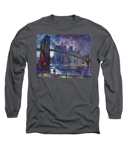 Romance By East River Nyc Long Sleeve T-Shirt by Ylli Haruni