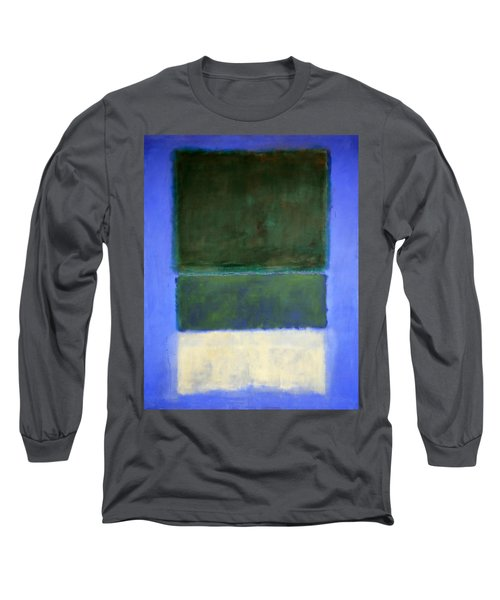 Rothko's No. 14 -- White And Greens In Blue Long Sleeve T-Shirt by Cora Wandel