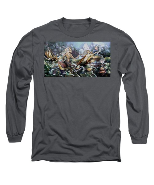 Something Fowl Afloat Redux Long Sleeve T-Shirt by Patrick Anthony Pierson
