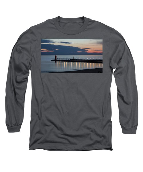 South Haven Michigan Lighthouse Long Sleeve T-Shirt by Adam Romanowicz