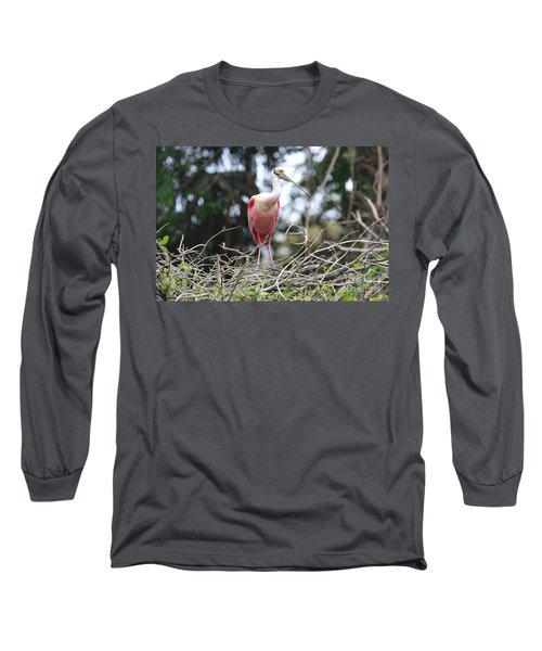 Spoonbill In The Branches Long Sleeve T-Shirt by Carol Groenen