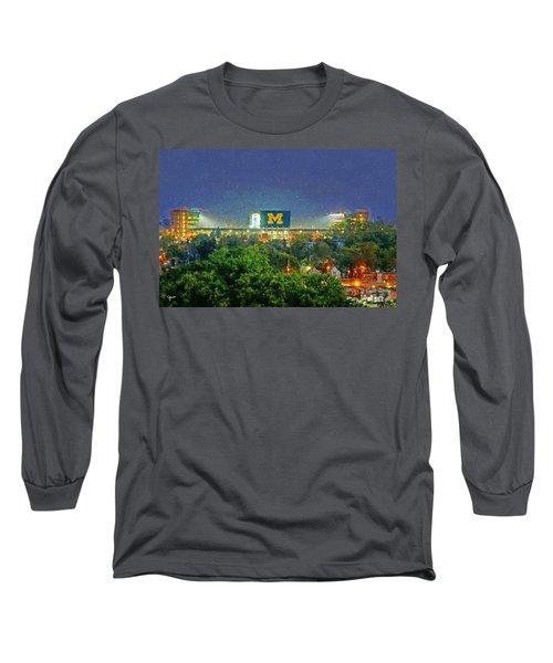 Stadium At Night Long Sleeve T-Shirt by John Farr