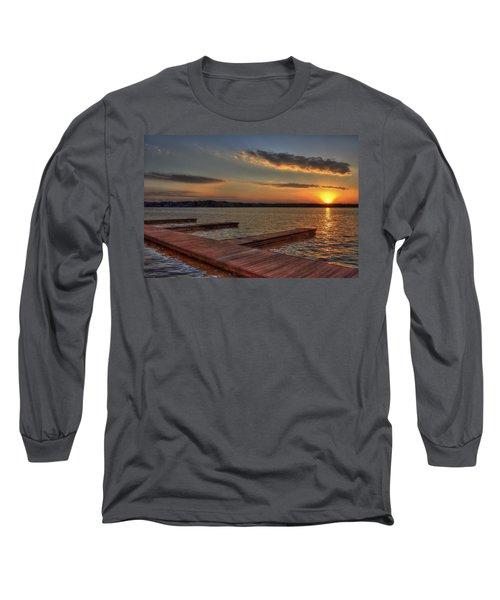 Sunset Docks On Lake Oconee Long Sleeve T-Shirt by Reid Callaway